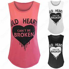 NEW LADIES WOMENS WILD HEARTS CANT BROKEN PRINT VEST TOPS SLEEVELESS TANK LOOK
