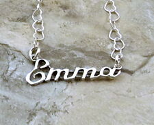 Sterling Silver Name Necklace -Emma -on Heart Chain Your Choice Length-1643