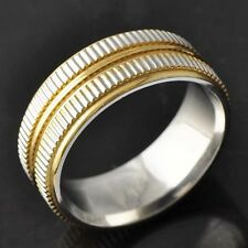 Carved Teeth Style Yellow/White Gold Filled Men's Band Ring Size 9# D4608