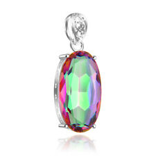 Amazing ! Oval Rainbow Mystical Topaz Gems Silver Necklace Pendant