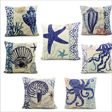 Cotton Linen Blue Ocean Series Cushion Cover Home Decor Pillow Case For Sofa/Car