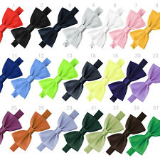 New Mens Pure Plain Bowtie Polyester Pre Tied Tuxedo Wedding Bow Tie Solid Color