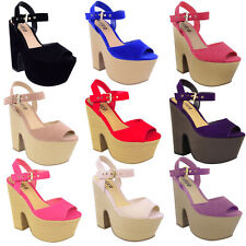 NEW LADIES WOMENS WEDGE HIGH HEELS SUMMER SANDALS PLATFORMS DEMI CHUNKY SIZE