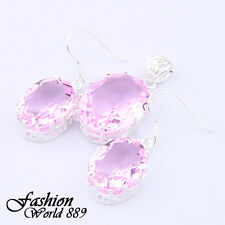Hot Fashion Jewelry Sweet Oval Pink Topaz Gemstone Pendant and Earrings Set