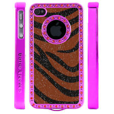 Gem Crystal Rhinestone Brown Black Zebra Shimmer Leather Case For Apple iPhone 4