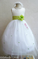 NEW IVORY LIME GREEN INFANT WEDDING PARTY BIRTHDAY ROSEBUD FLOWER GIRL DRESS