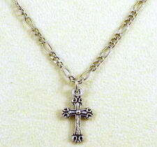 Pewter Petite Cross Charm on a Silver Tone Figaro Chain Necklace - 5153