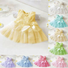Newborn Baby Girls Kids Princess Pageant Party Tutus Lace Bow Flower 0-24M Dress
