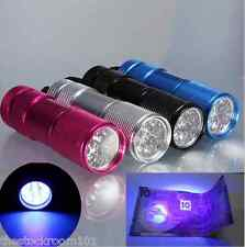 UV Flashlight 9 LED Ultra Violet Blacklight AAA Torch Light
