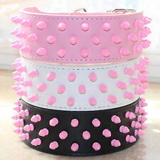 Pink Spiked Studded Leather Pet Dog Collar Big Dog Pitbull Bully Terrier Large