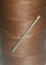 RITZA TIGRE WAXED HAND SEWING THREAD FOR LEATHER/CANVAS & 2 NEEDLES - CHOCOLATE