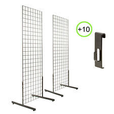 2' x 6' 2-Pack Gridwall Panel Tower & T-Base Display + 10 Utility Hooks