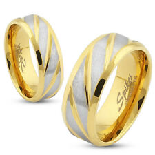 Diagonal Striped Gold IP Stainless Steel Wedding Band Couple Mens Ring