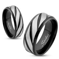 Diagonal Striped Black IP Stainless Steel Wedding Band Couple Mens Ring