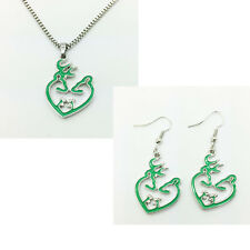 2015 NEW 1 set of green Browning Deer Necklace & earrings Fashion Jewelry/