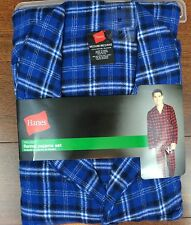 Men HANES Flannel royal blue plaid button waist Pj set S M L XL  2X 100% cotton