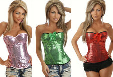 New SEXY GLAMOROUS SEQUIN BUSTIER Zip Up CORSET CLUB WEAR Hen Party Costume 8-14