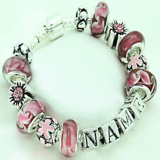 Personalised ANY NAME Pink Charm Bracelet Bead Girls Teens Birthday Present Gift