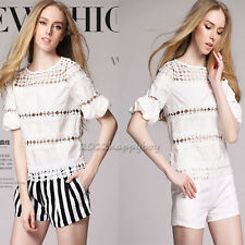 Summer Ladys White Lace T-Shirts+Striped Shorts Suits Girls Summer Casual Wear
