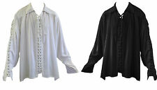 VICTORIAN GOTHIC BLACK WHITE CORSET LACING LONG SLEEVE SHIRT SIZES L-4XL