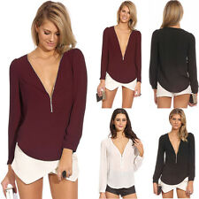 Fashion Sexy Women V-neck Zipper Long-sleeved Chiffon Blouse Shirt Tops Stylish