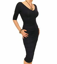 Blue Banana - New Ruched V Neck Clingy Dress - Fully Lined