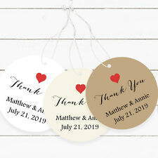 Wedding Favor Tags, Round Favor Tags Red Heart Thank You Personalized