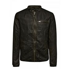 Jack and Jones Cafe Racer Jacket Black Leather Jacket Black