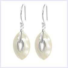 925 Sterling Silver White Mother of Pearl MOP Dangle French Hook Earwire Earring