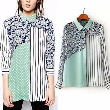 New Womens Casual Long Sleeve Paisley Striped Mixed Print Lapel Shirt Blouse Top