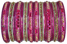 Indian Bangles Paisley Collection: Hot Pink Bracelets Set Size Small 2.4