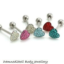 GLAZE COATED CRYSTAL ENCRUSTED HEART TONGUE BAR ~ SURGICAL STEEL ~ 1.6mm (14g)