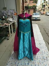 Women Princess Anna cosplay theme party costume dress+cloak for Adult