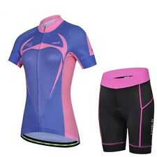 Women Bike Bicycle Outdoor Cycling Breathable Jersey + Shorts 3D GEL Pad S-XXL