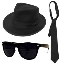 ADULTS AMERICAN BLUES KIT GANGSTER TRILBY HAT, BLACK GLASSES & TIE FANCY DRESS
