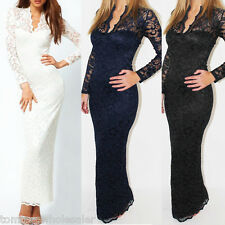 Elegant Women Lace Long Sleeve Prom Ball Cocktail Party Dress Formal Evening New