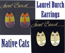 Laurel Burch NATIVE CAT Cloisonne EARRINGS Vintage Post Feline Lion LB NEW MOC