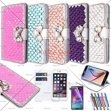 Luxury Bling Handmade Diamante Leather Wallet Case For iPhone and Galaxy Note