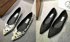 Women Steve Madden Furskin cow leather shell FLAT SHOES pointy toe lady new