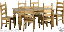Solid Pine Extending Dining Table & 6 chairs,Pine, Brown or Cream PU Seat CORONA