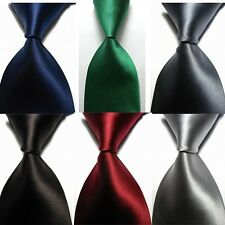 Men's Classic Solid 100% Silk JACQUARD WOVEN New Tie Necktie 14 Colors F