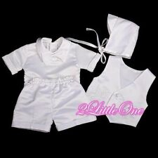 4 Pcs Satin Baptism Christening Short Suit Bonnet Infant Baby Boy Size 0-12m 019