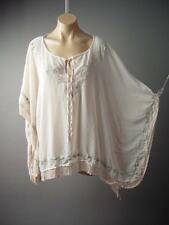 Boho Indie 70s Embroidered Poncho Caftan Style Fringe Sheer Top 131 df Blouse M