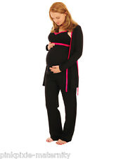 Maternity Nursing Cotton Easy Feed Pyjamas 3 pc Set & Dressing Gown Size 10-24