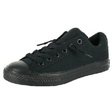 NEW Boys Youth Solid Black NO TIME TO LACE CONVERSE ALL STAR Sneakers Shoes