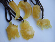 Faux Beeswax Resin Pendant Necklace Tooth Tiger Buddha Elephant Surfer Boho