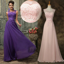 Plus Size Sexy Long BEADED Prom Wedding Evening Gown Party Bridesmaid DRESS 2-16