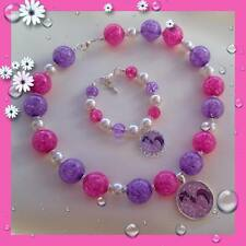 GORGEOUS LITTLE GIRLS MY LITTLE PONY CRACKLE BEAD NECKLACE AND BRACELET  SET