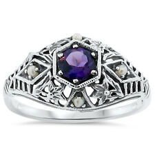 GENUINE AMETHYST PEARL ANTIQUE DECO STYLE 925 STERLING SILVER FILIGREE RING,#159