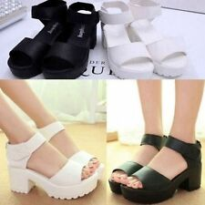 New Womens Peep-toe Summer Block Creeper Sandals Wedges High Platform Shoes